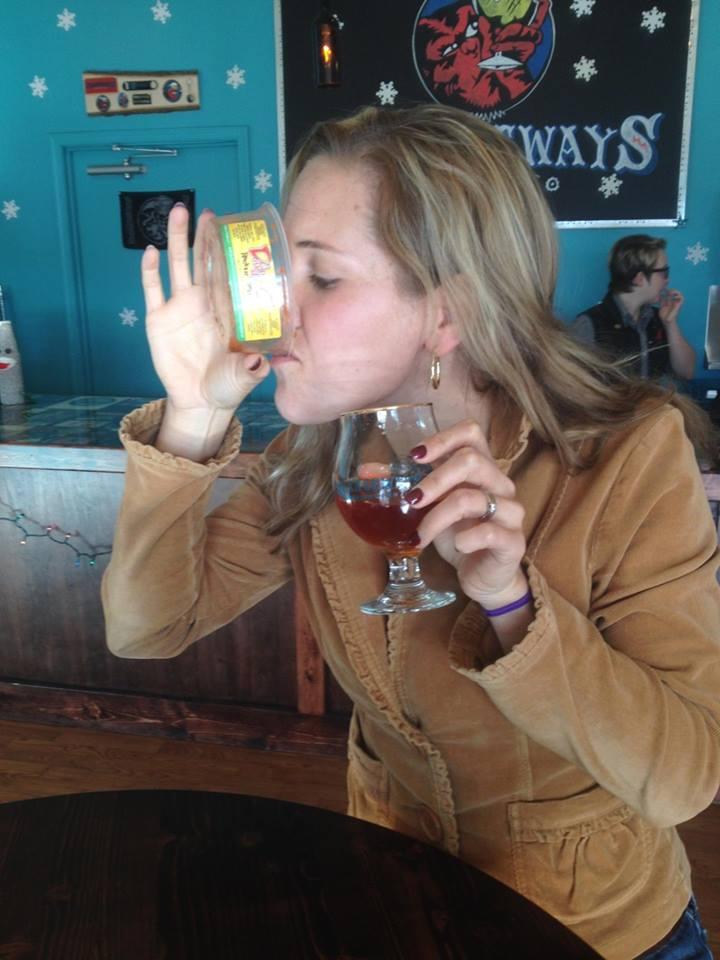 Katie Goodwyn reeeealllly enjoying some Daddy G salsa at Strangeways