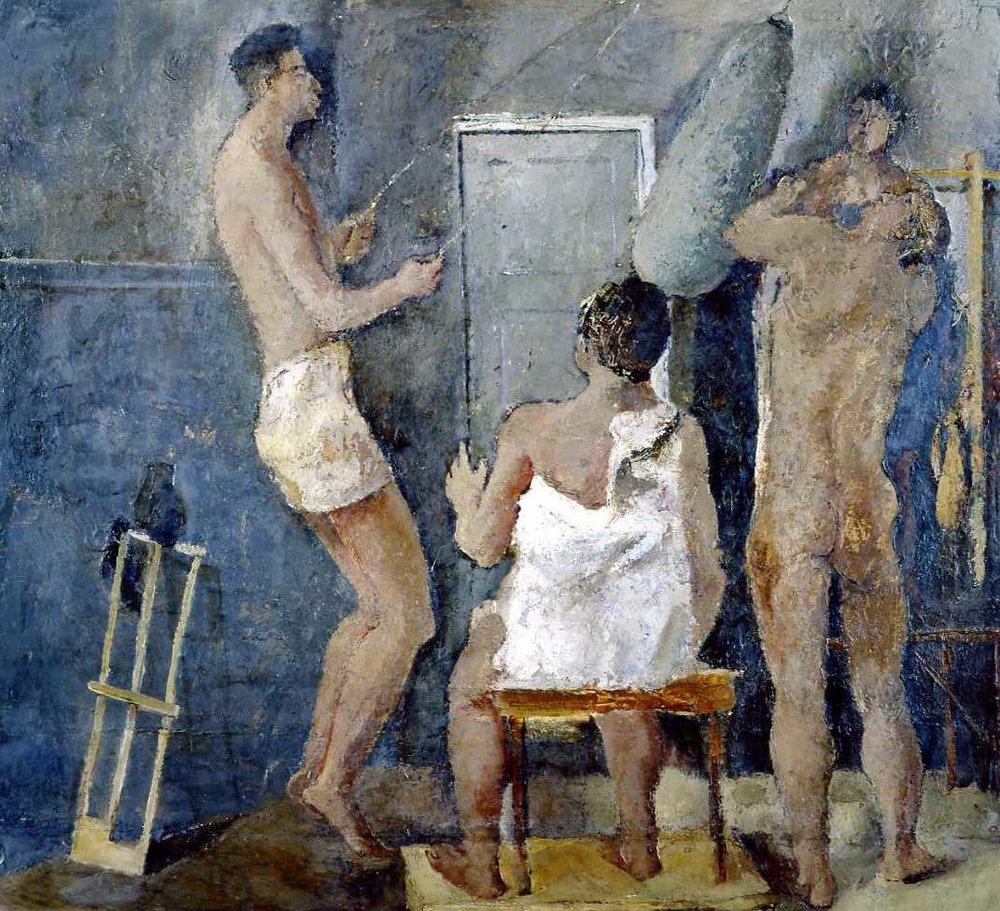 """Fausto Pirandello, figlio del più noto Luigi, dipinse  """"la palestra""""  nel 1934. Evidenti le influenze di Cezanne e Picasso in questa tela."""
