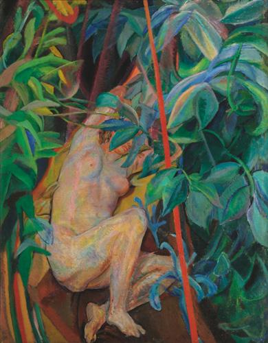 """Ferruccio Ferrazzi, """"la donna fra i sambuchi"""", 1917.  In questo quadro Ferrazzi abbandona le influenze divisioniste del periodo giovanile per una colorazione molto più accesa, quasi  fauves."""