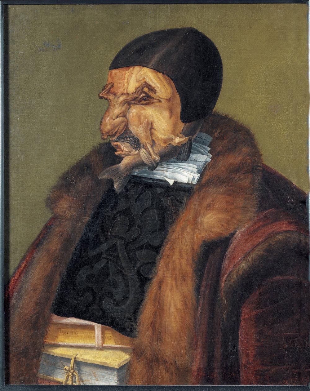Il Giurista, 1566, olio su tela. Stoccolma, Nationalmuseum. Tramite questa caricatura Arcimboldo ironizza fortemente il mestiere del giurista, mettendolo quasi in ridicolo; il volto è infatti composto da una quaglia, un pollo e dei pesci, facendone una sorta di creatura mostruosa.