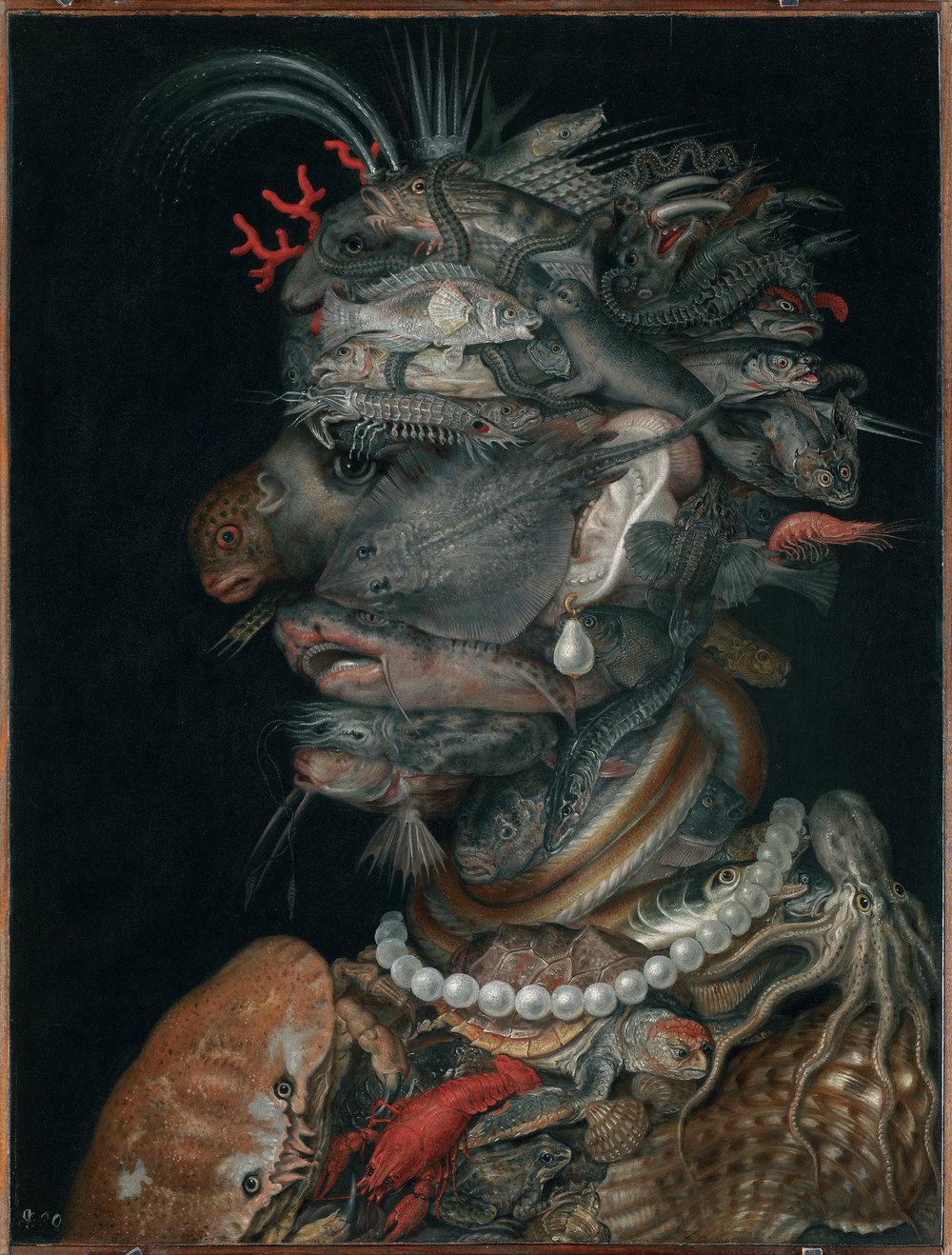 L'Acqua, 1566, olio su legno di ontano. Vienna, Kunsthistorisches Museum. In coppia con l'Inverno, questo dipinto raffigura la personificazione dell'acqua; da lontano si percepisce la figura umana, mentre avvicinandosi emerge una moltitudine di pesci ed animali marini, dalla tartaruga al polipo, dalla razza alla foca... potrete divertirvi a riconoscere più specie possibili!