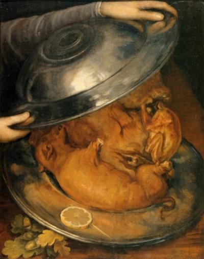 Il Cuoco / Piatto di arrosto, olio su tavola. Stoccolma, Nationalmuseum.  Alla mostra, grazie ad uno specchio posizionato sotto al quadro, potrete scoprire cosa si cela dietro a questa portata...