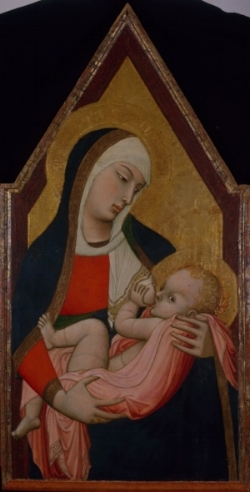 Madonna che allatta il Bambino, tempera e olio su tavola.