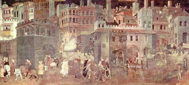 Effetti del Buon Governo in città, Siena, Palazzo Pubblico, Sala dei Nove.