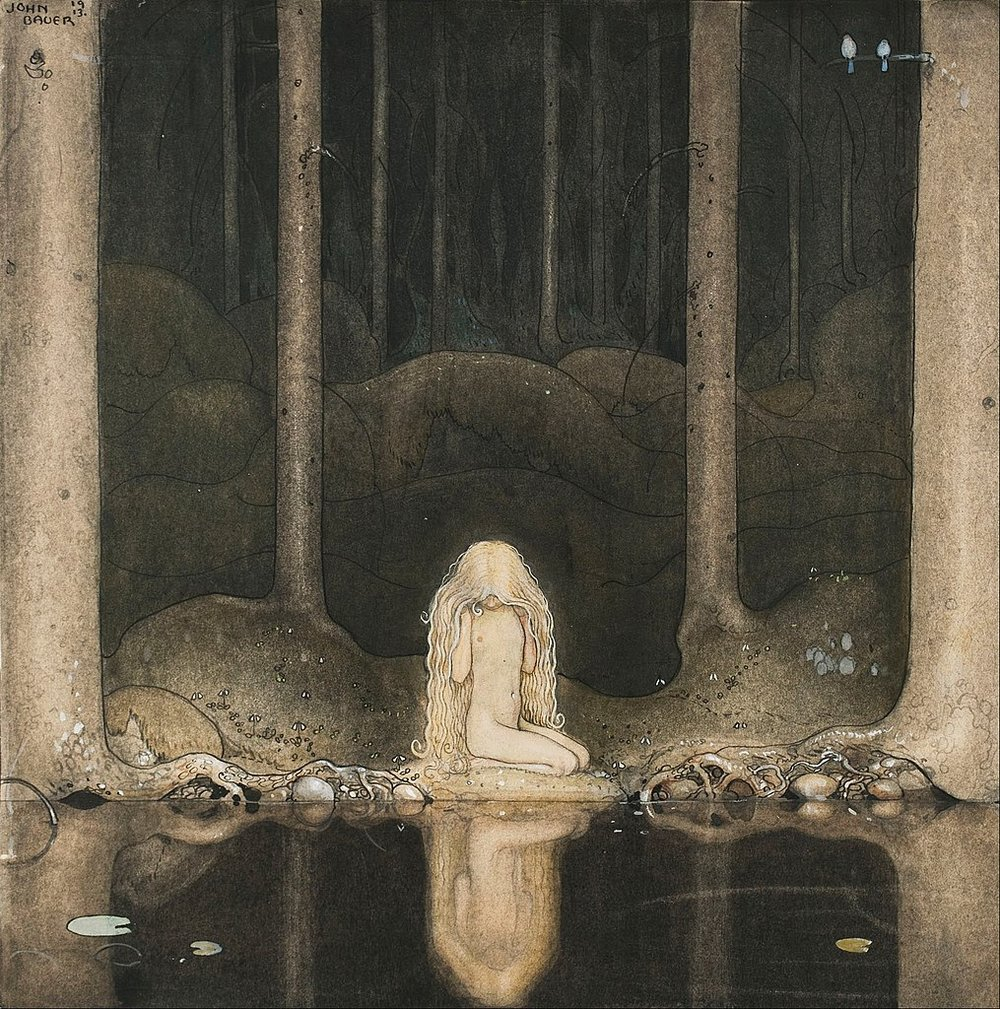 1015px-John_Bauer_-_Princess_Tuvstarr_gazing_down_into_the_dark_waters_of_the_forest_tarn._-_Google_Art_Project.jpg