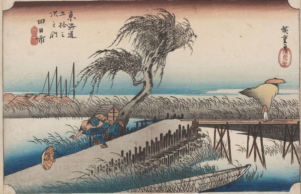 Utagawa Hiroshige - Yokkaichi: fiume Mie anche conosciuto come il Primo Tôkaidô o il Grande Tôkaidô. 1833-34 circa / silografia policroma 245 x 350 mm / Museum of Fine Arts, Boston - William Sturgis Bigelow Collection
