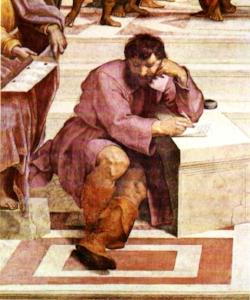 Raffaello, La Scuola di Atene, dettaglio di Michelangelo nelle vesti di Eraclito.