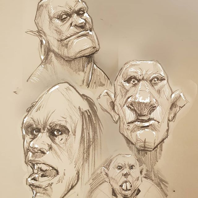 Orc doodles #Drawing #orcs #fantasyart #sketchbook #pencildrawing #drawingoftheday