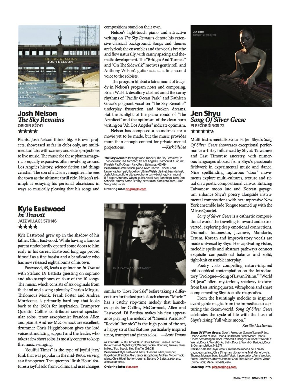 Review in Downbeat Magazine of latest Kyle Eastwood album 'In Transit'. Click to enlarge.