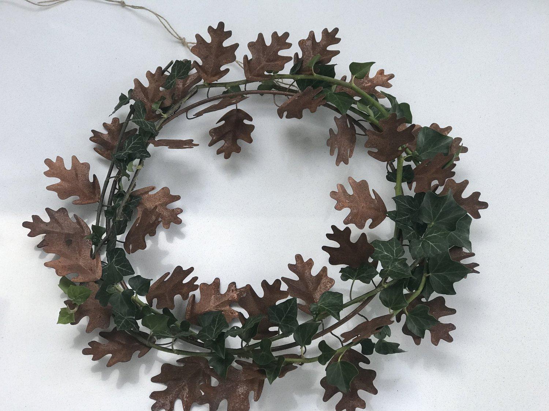 metal copper oak leaf wreath three grey