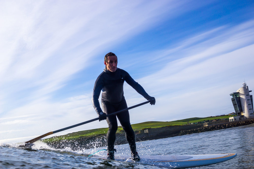 SUP surfing at Footdee, Aberdeen.