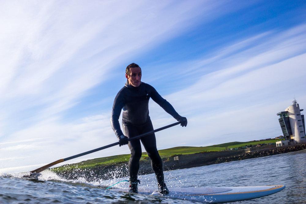 SUP surfing at Footdee, Aberdeen.