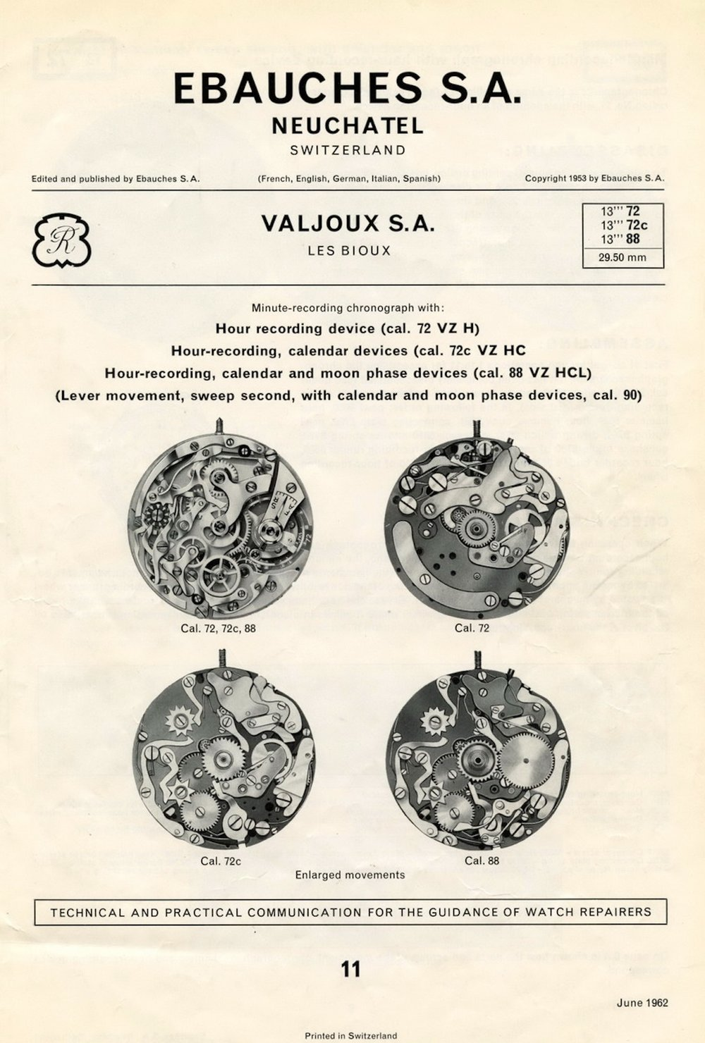 Original Valjoux technical sheets from 1962
