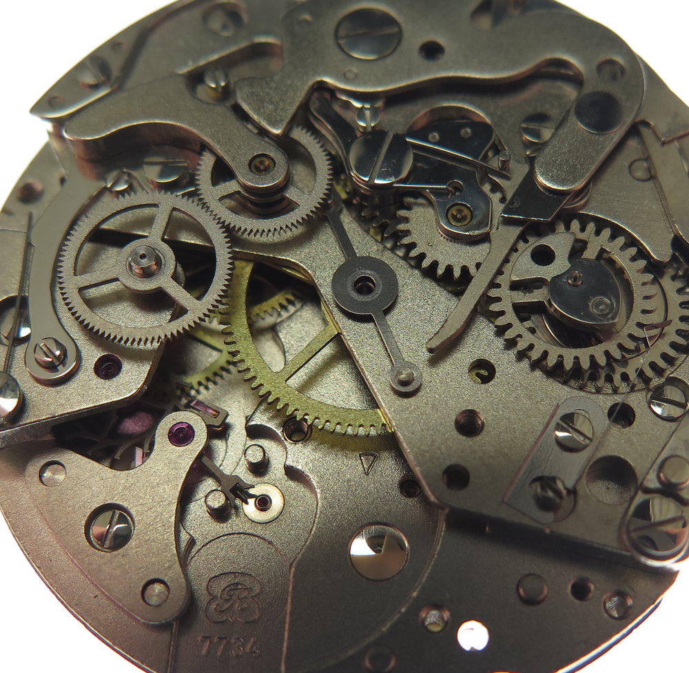 Chronograph seconds wheel removed from the image.