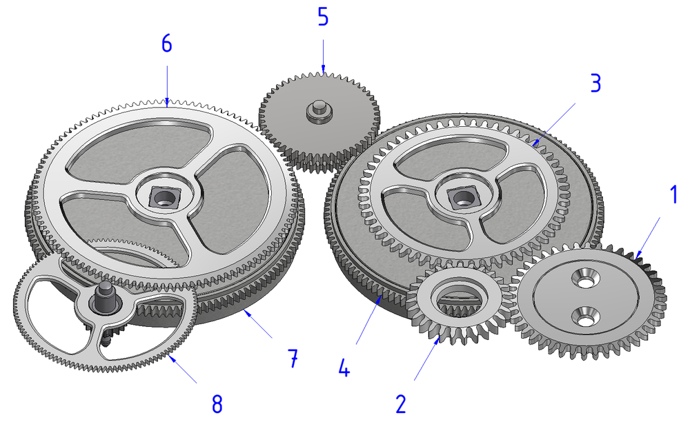 The first barrel (7) is the only one which drives the gear train (8). When its torque falls below a certain percentage of that of the second barrel (4), the latter compensates for the lack of torque of the first barrel (7). During winding, the ratchet (3) is driven by the reversing gear (2) which transmits the rotation of the upper crown wheel (1). The ratchet wheel 3 winds the second barrel (4) and when its torque is sufficient, the latter rotates and drives the intermediate wheel (5). This wheel (5) rotates the ratchet (6) and thus makes it possible to wind the two barrels (7 and 4) until they are fully wound.