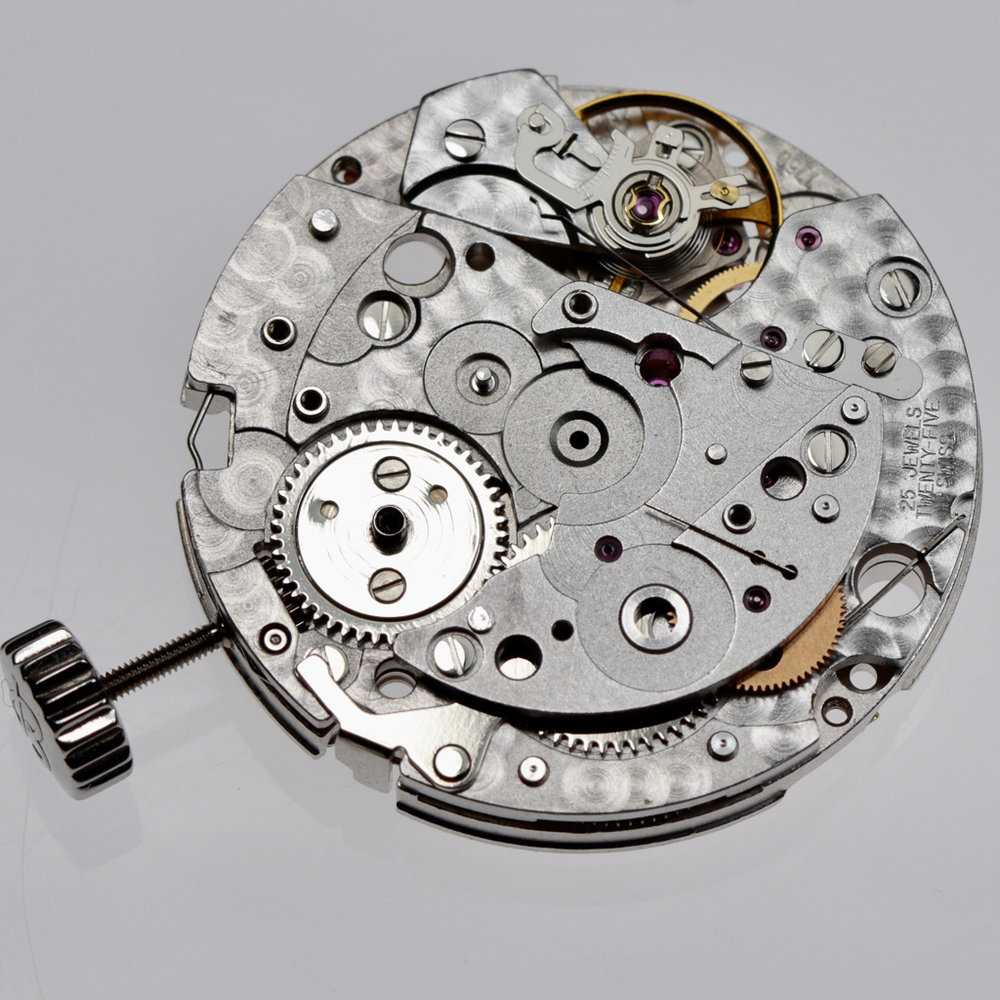 Upper chronograph mechanism removed