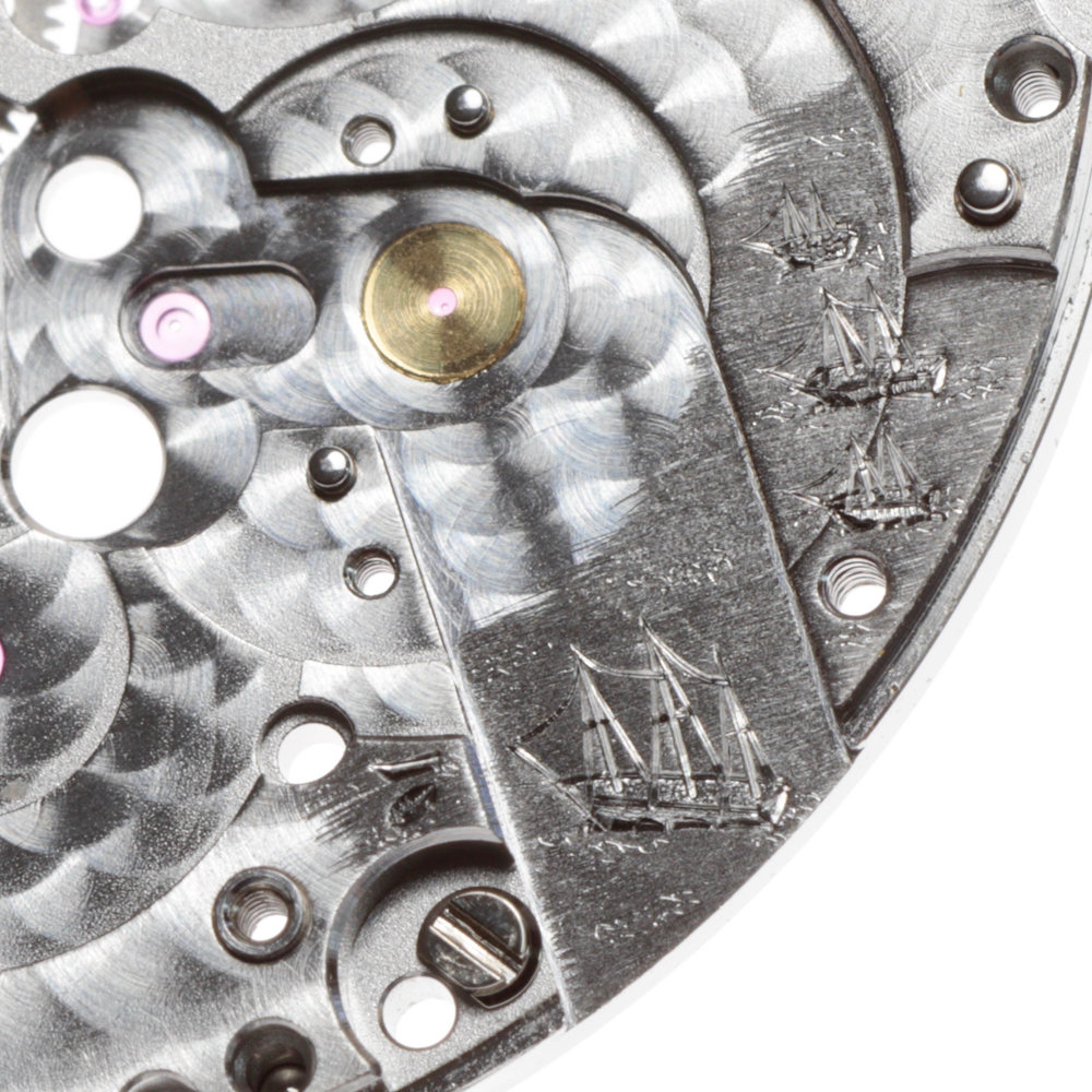 Engraving on the mainplate under the balance