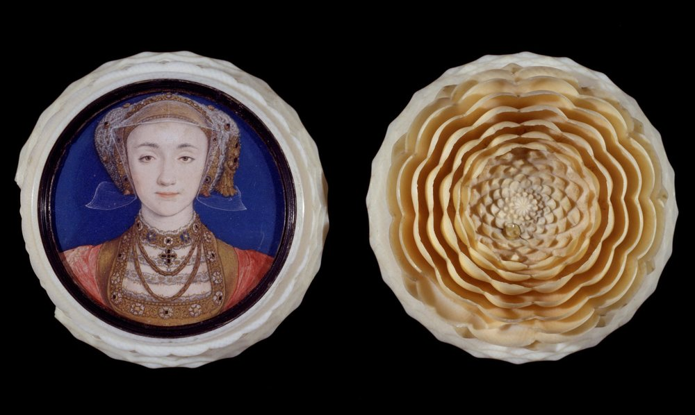 Fig 1.   Portrait miniature of Anne of Cleves (1515-1557), set in a turned ivory box  Holbein, Hans, born 1497 - died 1543  © Victoria and Albert Museum, London
