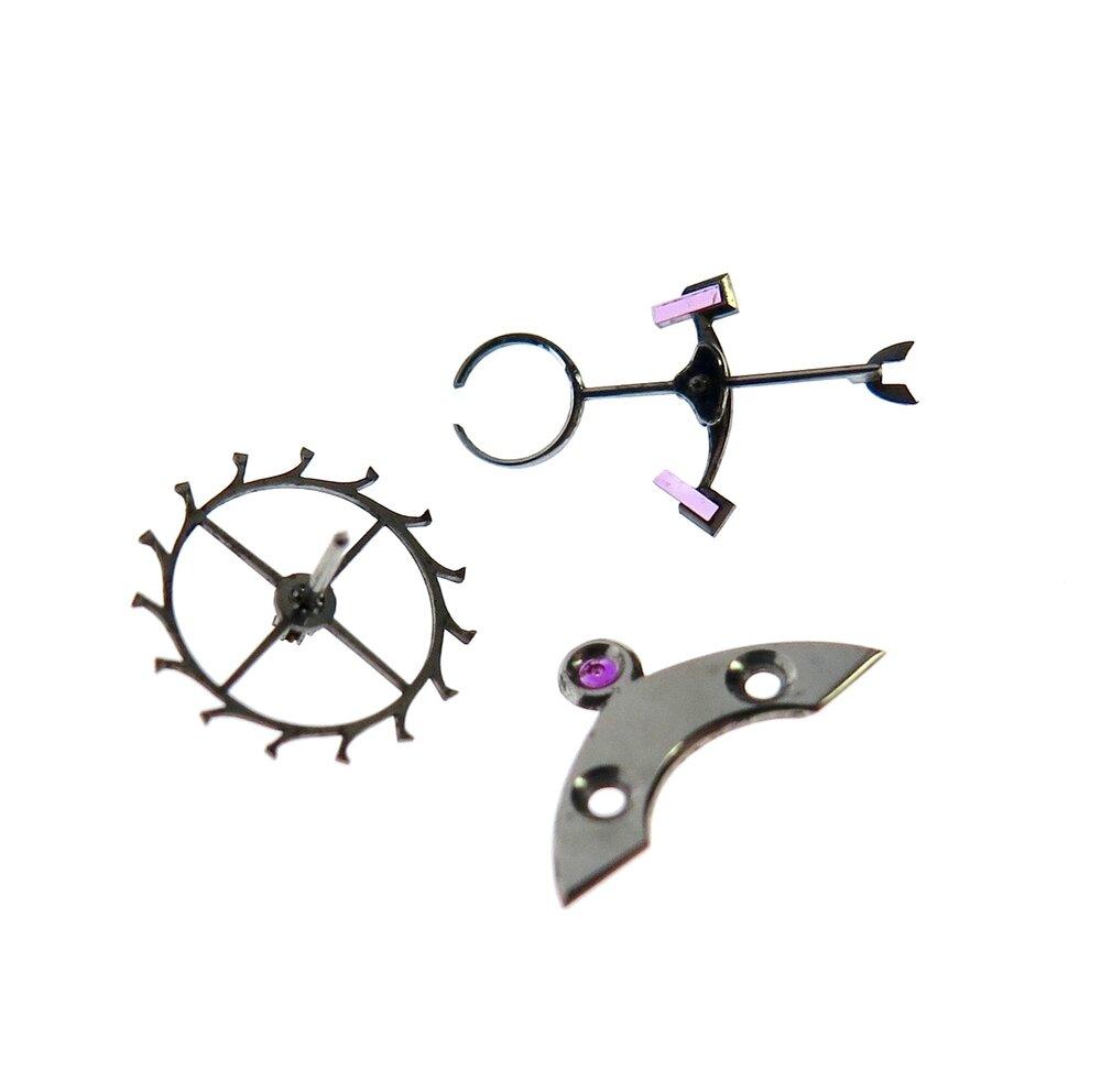 Escape wheel, anchor and anchor (or pallet) cock