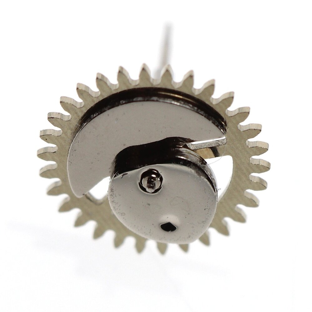 Minute recorder wheel, showing heart shaped return cam and counter balance weight