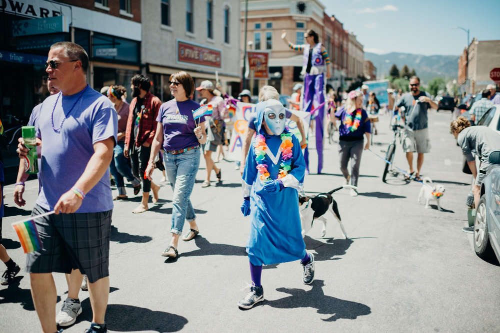 Hundreds of participants walk in the first Purple People Powered Pride Parade sponsored by Planned Parenthood.The parade consisted of the local LGBTQIA community, their allies and family members - as well as some folks traveling from almost 200 miles away to be a part of this historic event.