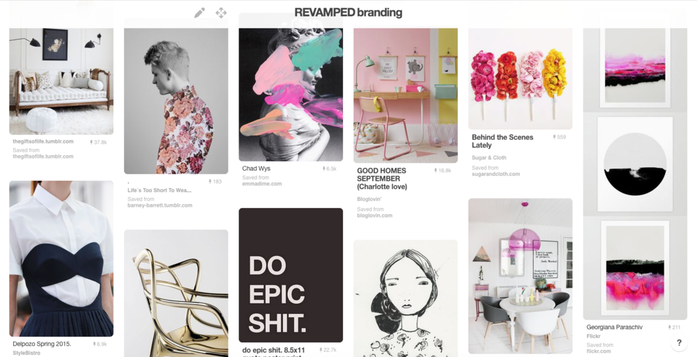 example of a brand pinterest board