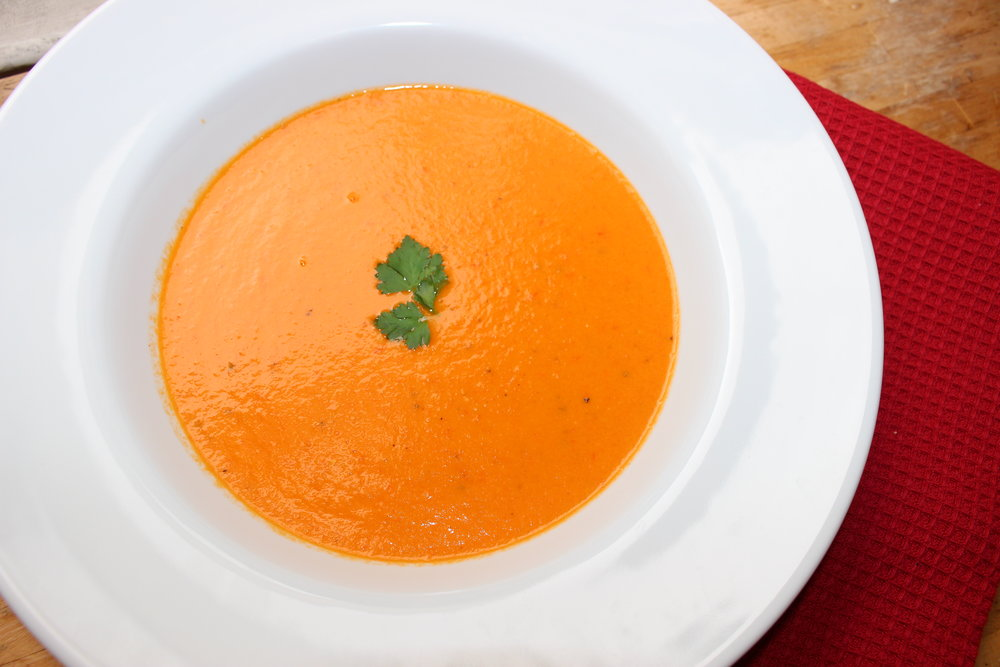 Roasted tomato and carrot soup (dairy free)