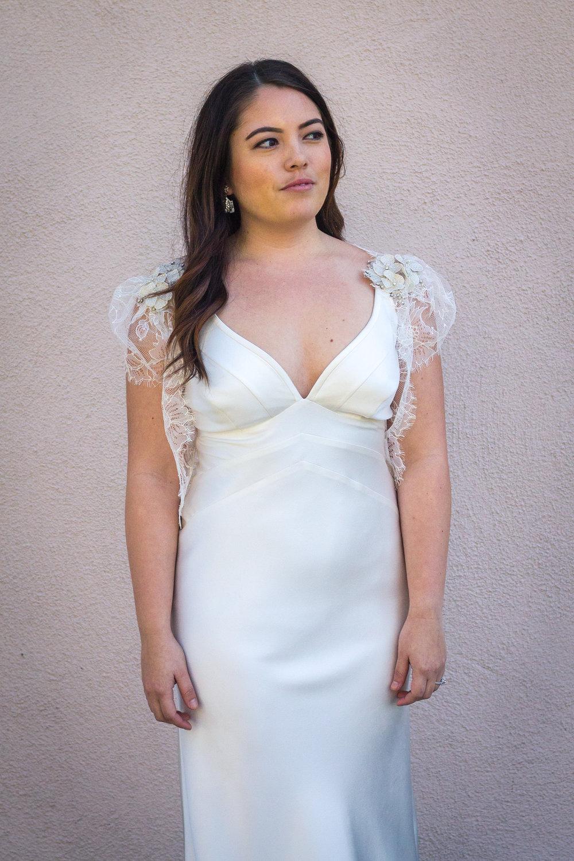 Dress: Suzanne Neville | Lace Jacket: Erin Cole | Earrings: Maria Elena