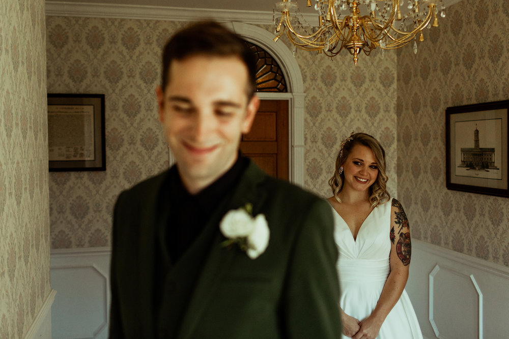 bride and groom first look nashville airbnb wedding