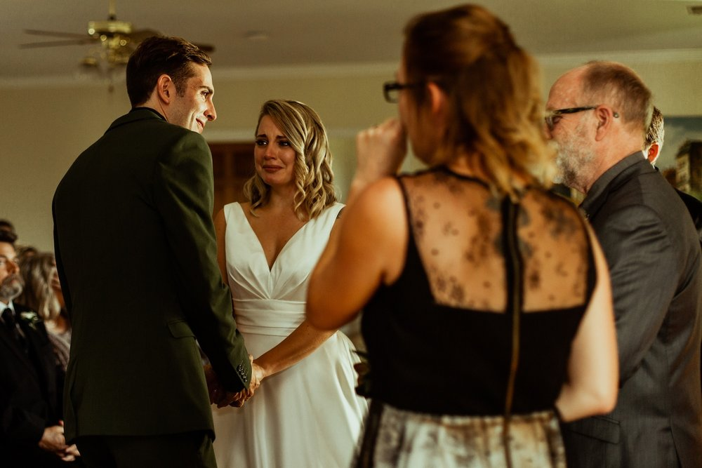 emotional wedding ceremony when groom surprises bride with mother's wedding band