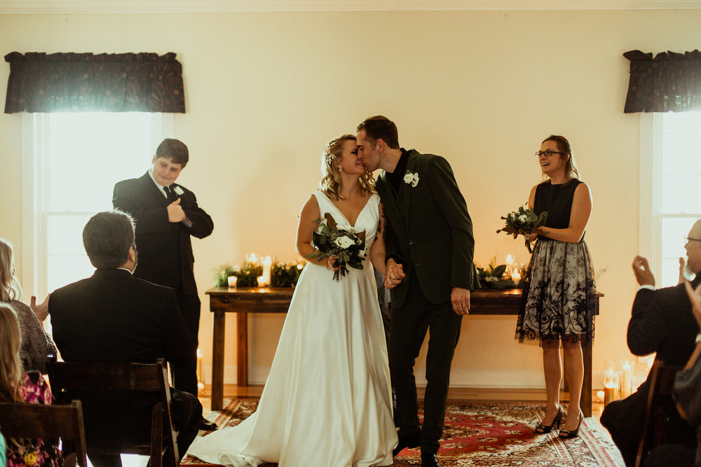 bride and groom recess from nashville wedding ceremony
