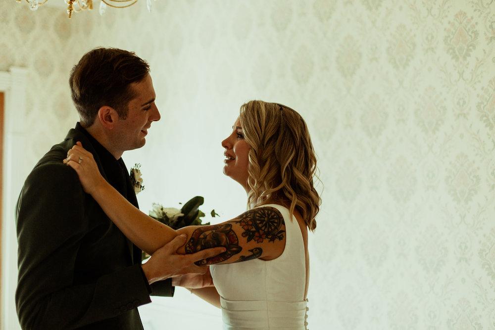 bride and groom emotional after nashville wedding ceremony
