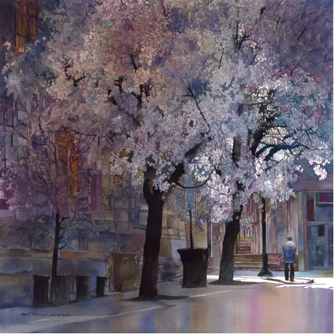 A piece by John Salminen, juror for the 49th Watercolor West International Juried Exhibition.