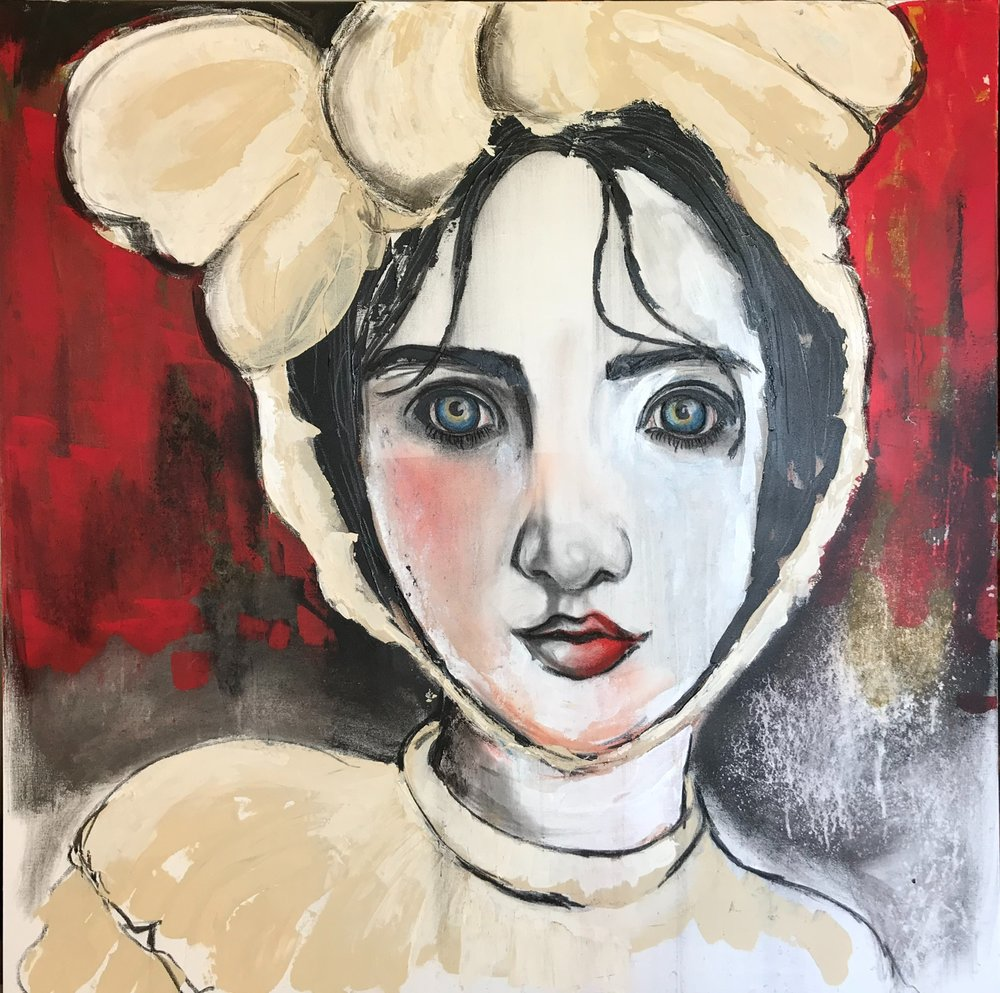 "Girl in Bonnet    by Jennifer Anderson, $1,700  48"" x 48"""