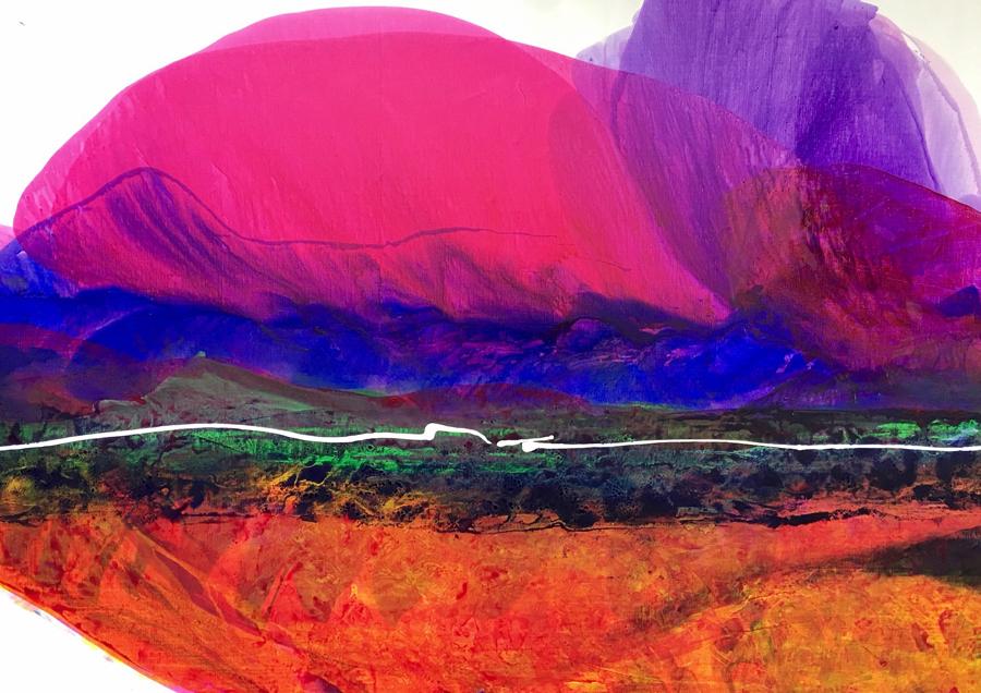 "Santa Fe    by Linda Stelling, $5,500  46"" x 66"" x 2"""