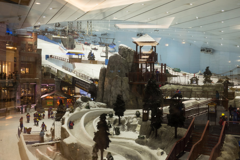 The world's largest indoor ski slope, located in the Mall Of The Emirates. In the summer it's something like 130 degrees outside and -20 inside. Crazy.