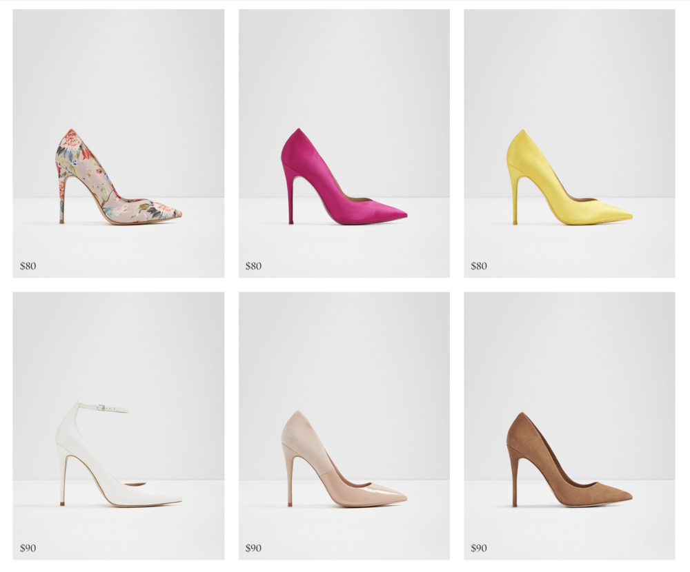 """From the pages of Vogue - Never Underestimate the Power of Restrained Sex AppealAccording to Bruno Frisoni, who designs his own line in addition to being the creative director of Roger Vivier, """"There is something animal in the [single-sole] look—you feel the curve of the foot."""" Bay states frankly that """"men really don't like platforms—they find them totally unsexy. For them, even a kitten heel would be better,"""" while Choi believes the hottest look to be a thinner sole combined with a great high heel, which throws the arch of the foot outward. She urges courage: """"Don't give in just because you miss the height and comfort!""""Consult the Historical RecordFrisoni reminds us that more slender shoes can make you look like a cinematic heroine: """"If you consider the stiletto,"""" he says, """"it's the perfect proportion. I think it makes you even more feminine, as in the fifties and sixties—Tippi Hedren with a wide, knee-length coat and a stiletto.""""....And from the lips of the King of Stilettos, Manolo Blahnik....""""I only make single-sole shoes,"""" declares Manolo Blahnik. """"They transform the way a woman walks: in heavy platforms like truck drivers, in my shoes like ballerinas.""""<<Photo from Aldo, one of my favorite spots for stiletto pumps or...anything!"""