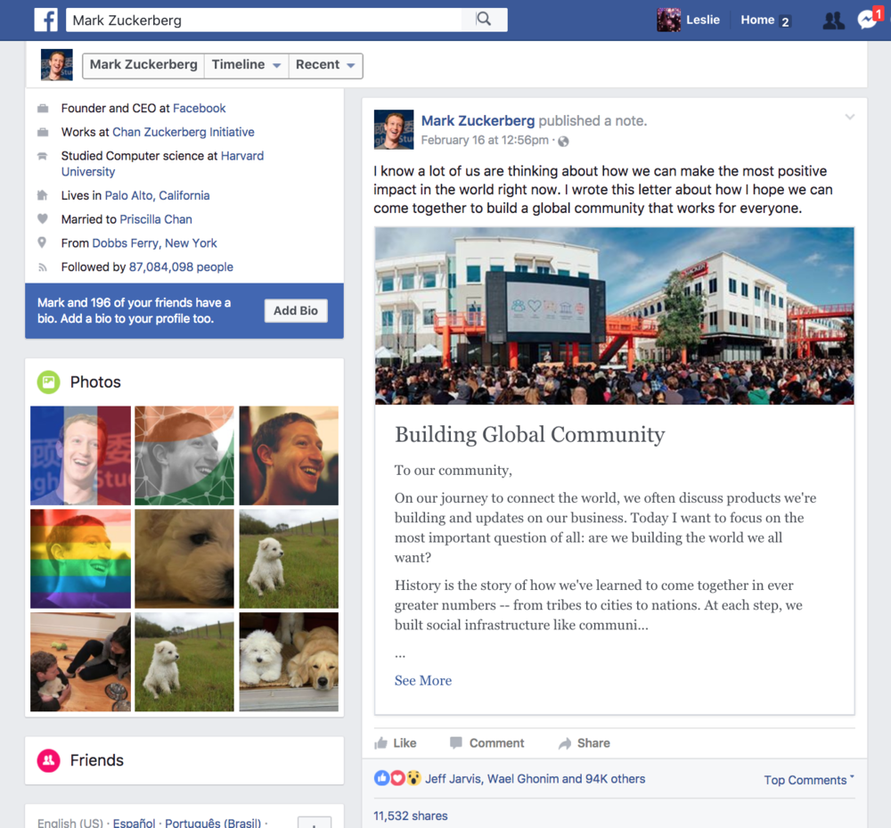 Snapshot of Zuckerberg's Open-letter published on his Facebook page