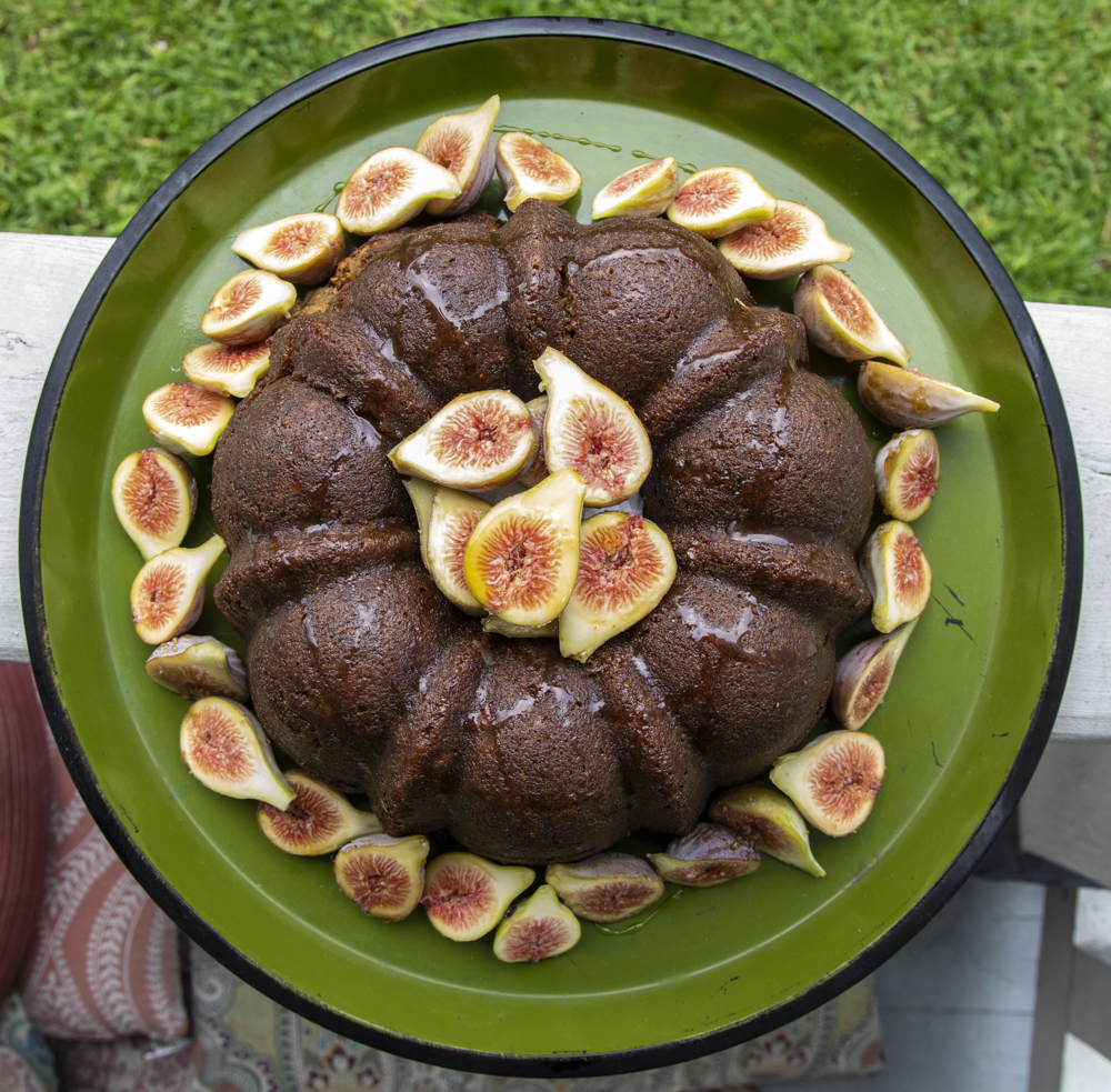Dressing this cake up with fresh figs adds a little flare. I won't eat them raw but I have crazy texture issues. Nevermind my crazy.