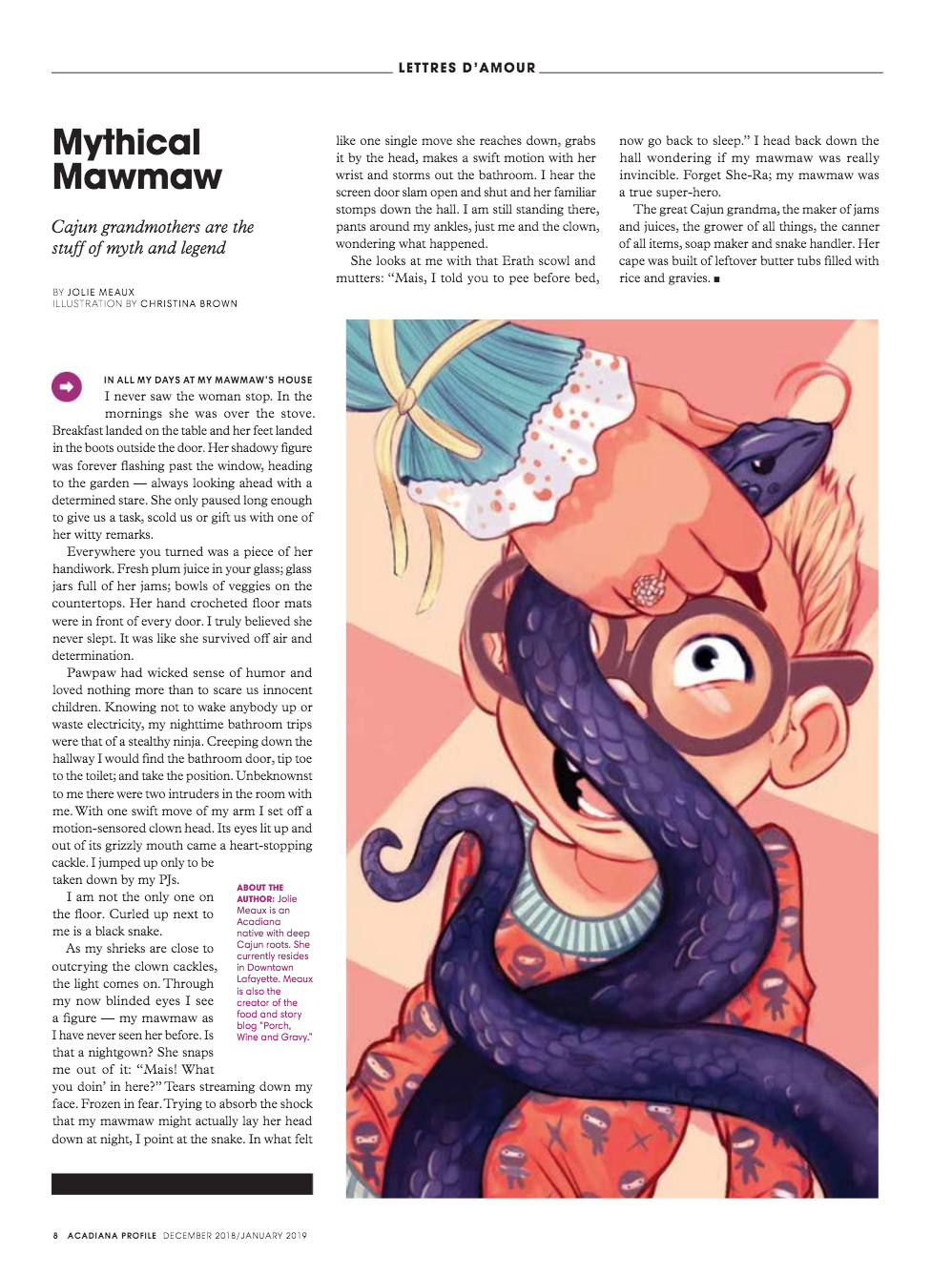 Mythical Mawmaw story (and an amazing illustration by Christina Brown) in Acadiana Profile Magazine.