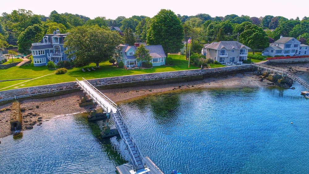 Beautiful aerial shot of an oceanfront property in Marblehead, MA