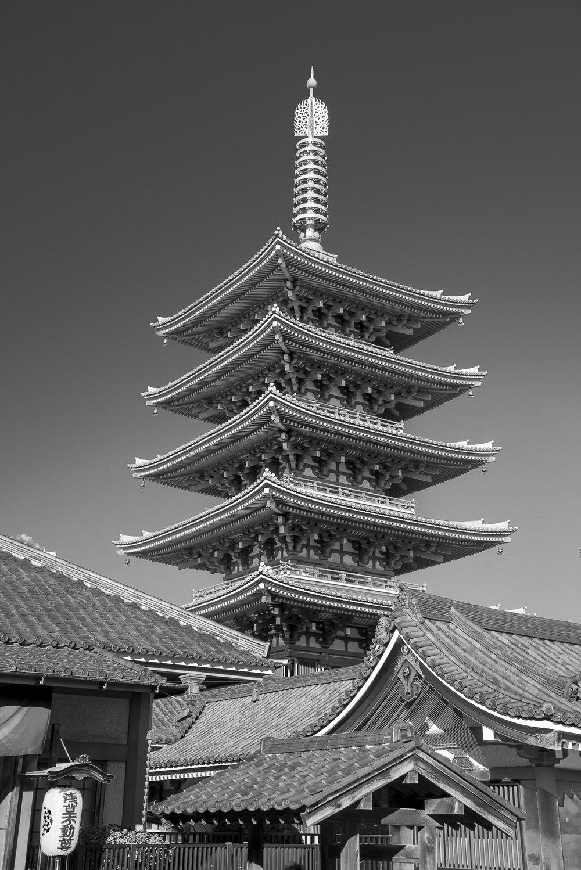 One of Tokyo's few pagodas - Senso-ji, Asakusa, Tokyo.