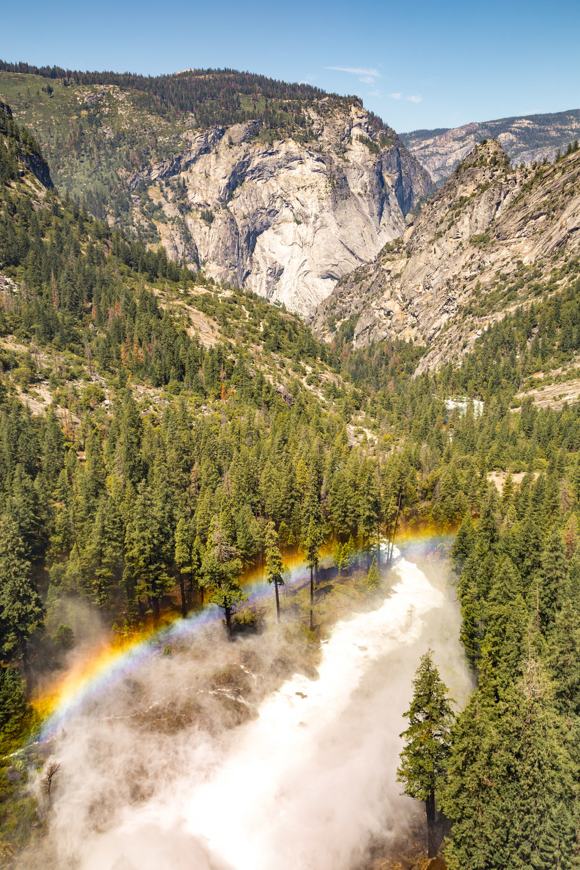 Waterfall rainbows over Nevada Falls