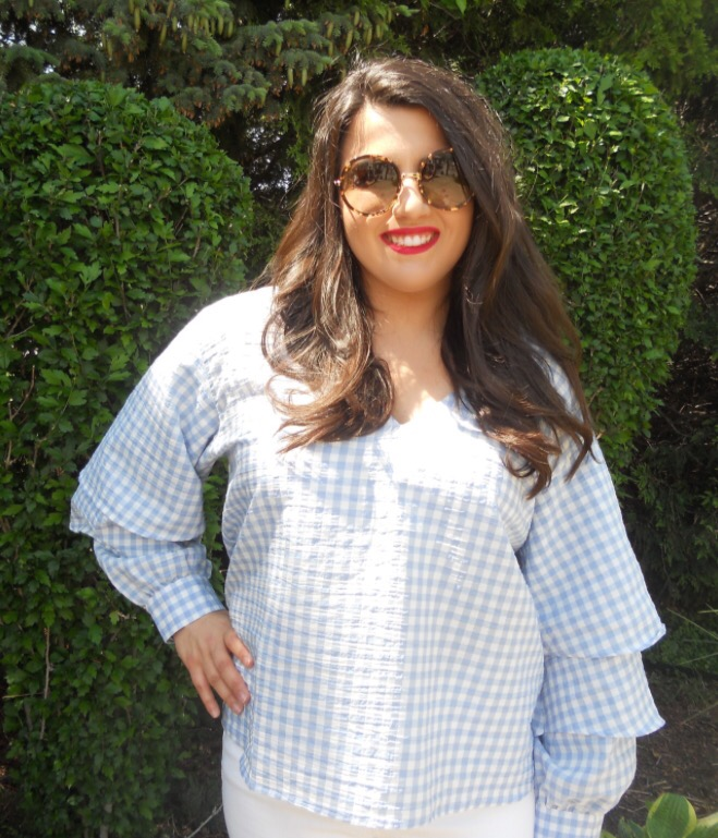 Top:  Topshop    Jeans:  Madewell    Shoes:  Marc FIsher    Sunglasses:  Kate Spade    Lip:  MAC 'Ruby Woo' Lipstick and Lip Pencil   I hope everyone had a fun and safe Memorial Day Weekend! Yesterday the whole family got together to eat a classic American meal before eating a DQ ice cream cake! In the pictures, I am wearing a  gingham top  from Topshop,  high rise jeans  from Madewell, espadrilles  by Marc Fisher,  sunglasses  from Kate Spade and  red lips  to give that patriotic touch.                               \