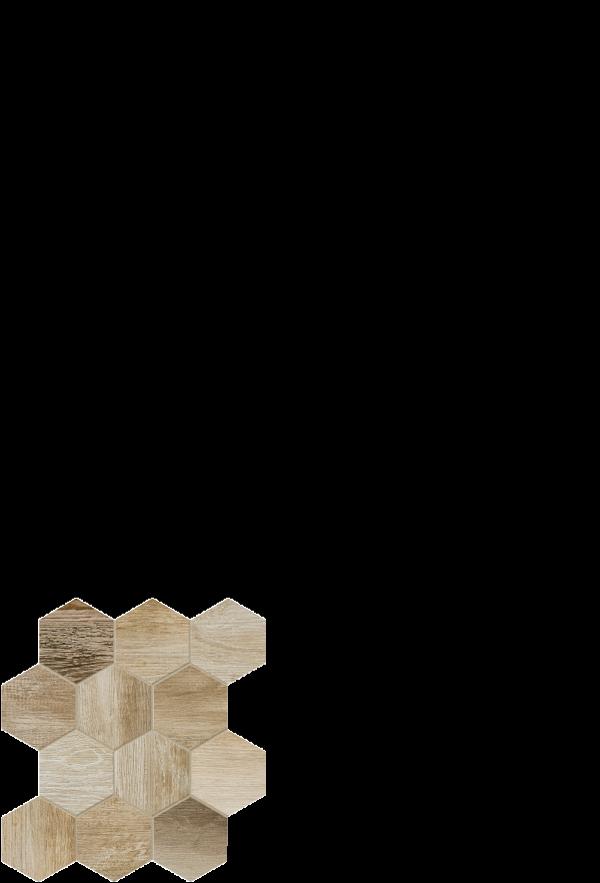 barnwood tile hexagon beige 12 x 14
