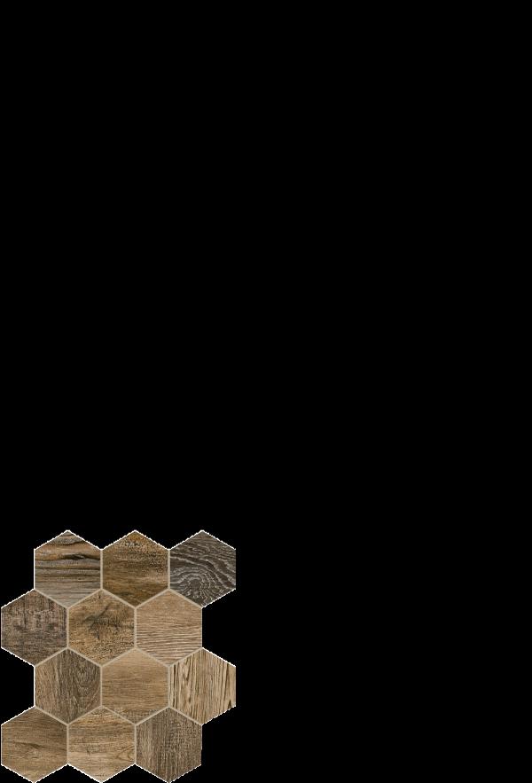 barn wood tile brown hexagon 12 x 14