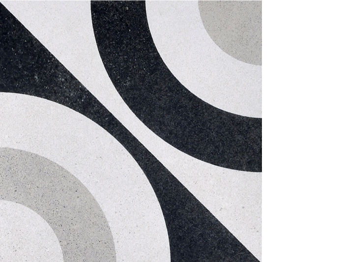 "cementine porcelain tile 8"" x 8"" black and white"