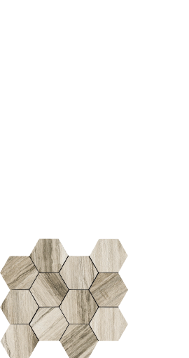 Drift, wood look tile. hexagon - White