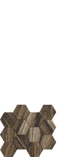 Drift, wood look tile. hexagon - Brown
