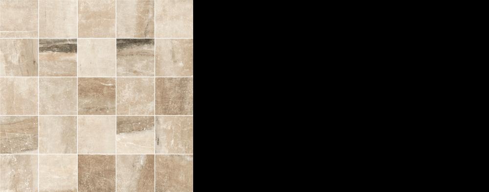 "Pearl porcelain floor tile almond, beige 2.5"" x 2.5"" mosaic on 12 x 12 sheet"